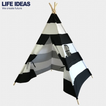 Black Stripe Canvas Teepee Tent